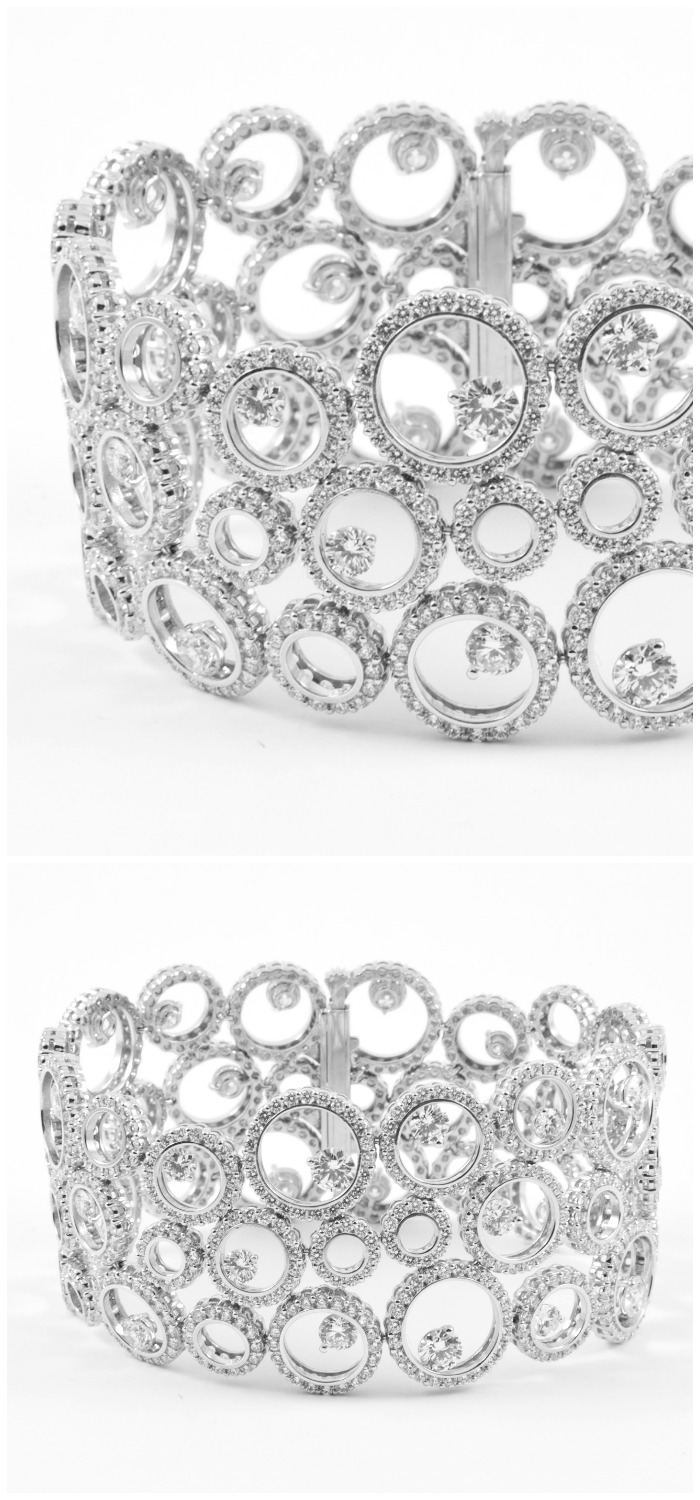Forevermark by A. Link 3 Row Bubbles Bracelet set in 18k white gold with diamonds.
