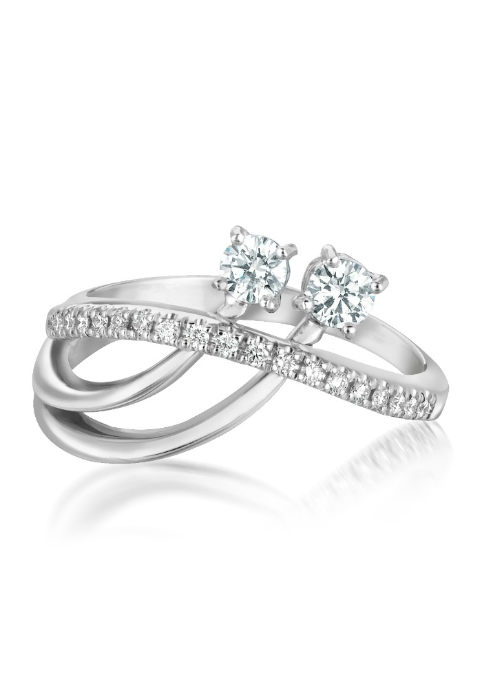 Forevermark by A. Link You and Me Coquette ring set in 18k white gold with diamonds