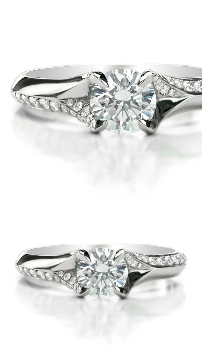 Forevermark by Jade Trau Knife Edge diamond engagement ring set in platinum.