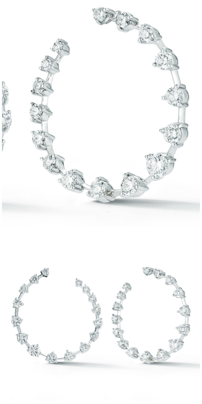 Forevermark by Jade Trau diamond hoops set in 18k white gold