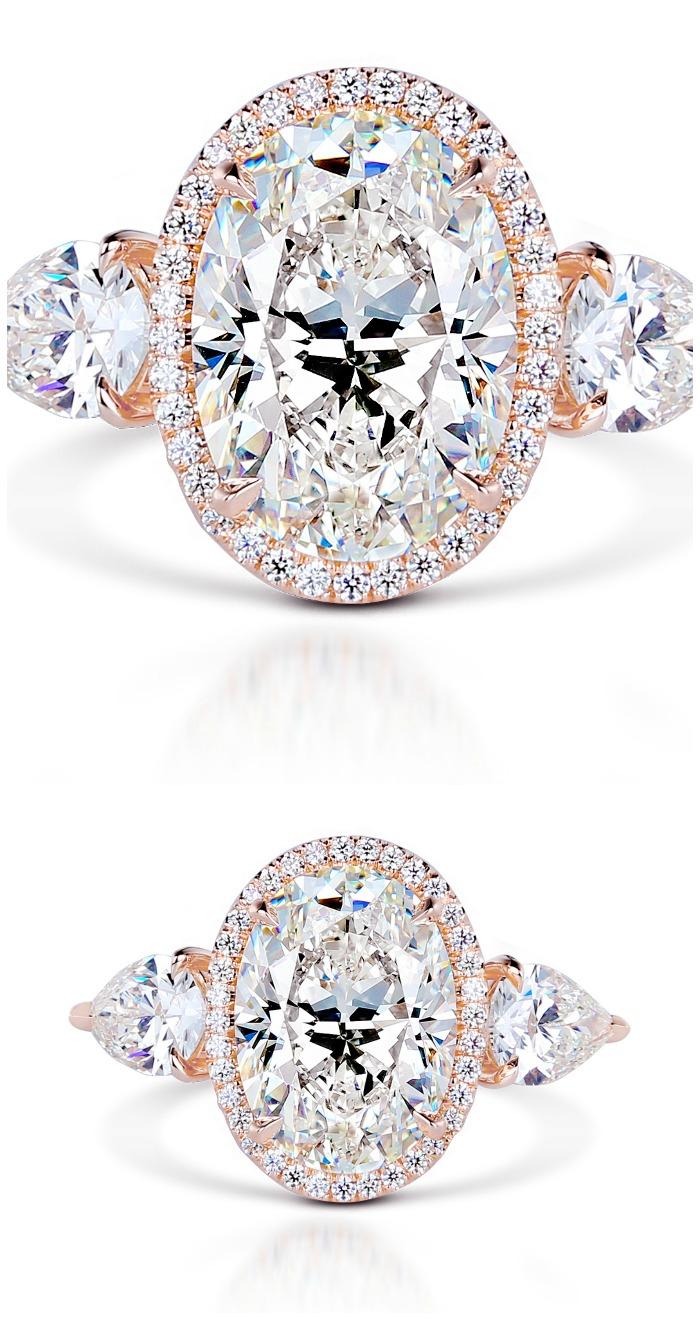 Forevermark by Premier Gem oval diamond ring set in 18k rose gold.