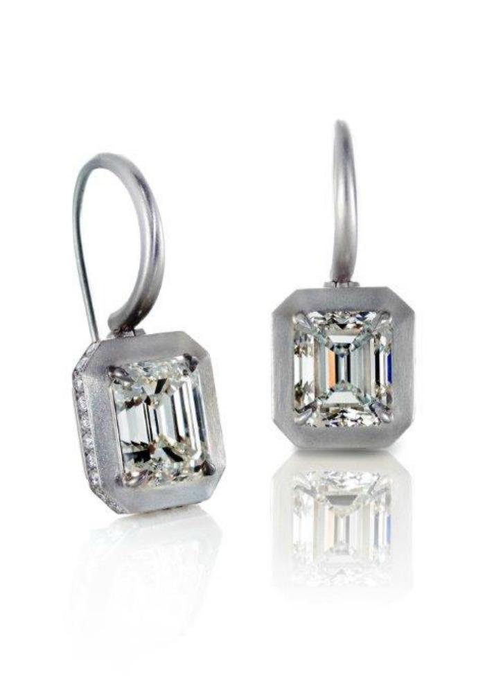 Forevermark emerald cut diamond earrings set in brushed platinum