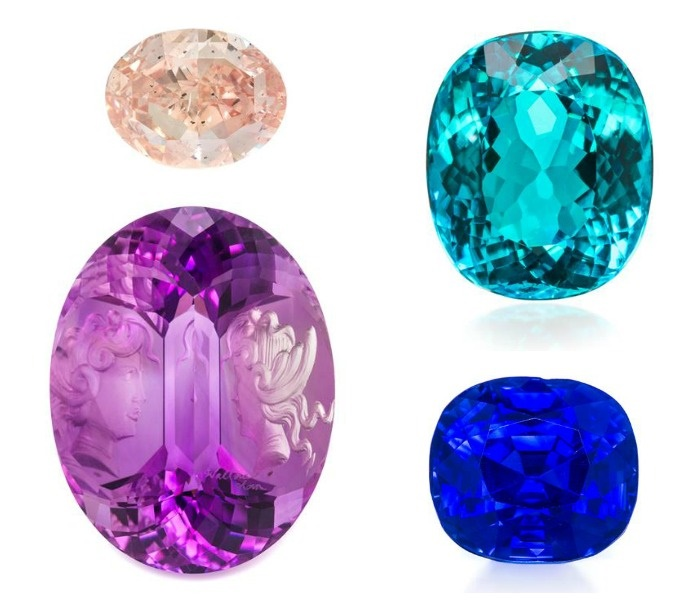 Four gemstones from the upcoming Leslie Hindman auction - a 2.58 ct fancy orangey pink diamond, a 37 ct carved reverse intaglio amethyst by Wallace Chan, a 4.01 carat Brazilian Paraiba tourmaline, and a 6.40 carat Kashmir sapphire.