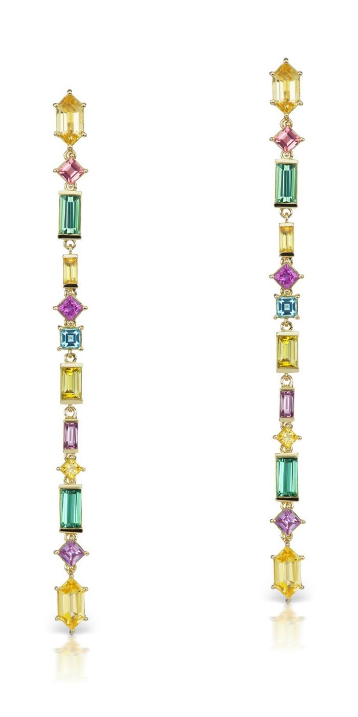 Jane Taylor jewelry's Cirque Aerial Silk earrings in 18K yellow gold, with yellow beryl, pink tourmaline, green tourmaline, yellow sapphire, magenta sapphire, aquamarine, and yellow tourmaline.
