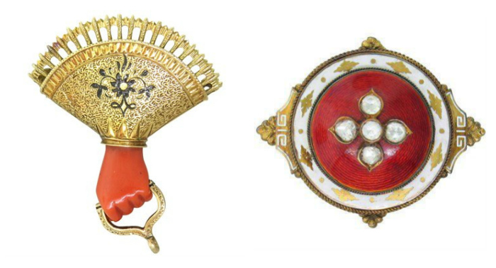 Two beautiful and interesting Victorian era brooches from Oakgem.