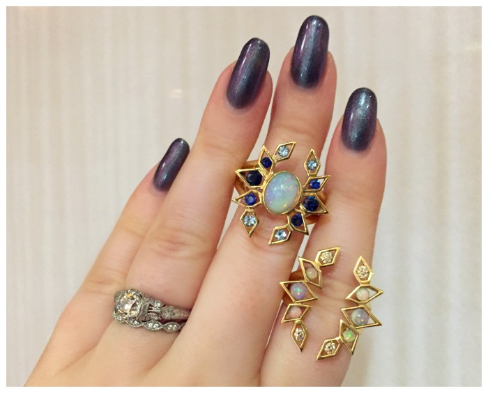 Two beautiful rings by Ron Hami. With diamonds, sapphires, and opals in gold.