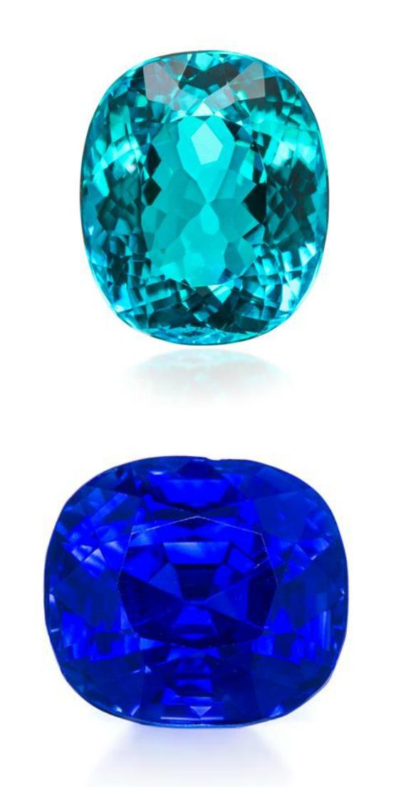Two gems from an upcoming Leslie Hindman auction; a 4.01 carat Brazilian Paraiba tourmaline, and a 6.40 carat Kashmir sapphire.