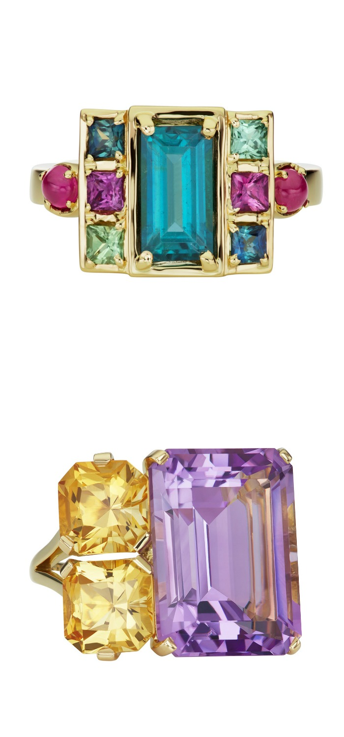 Two incredible cocktail rings from Jane Taylor jewelry - the Cirque Petite Cloud Swing ring and the Cirque Banquine ring