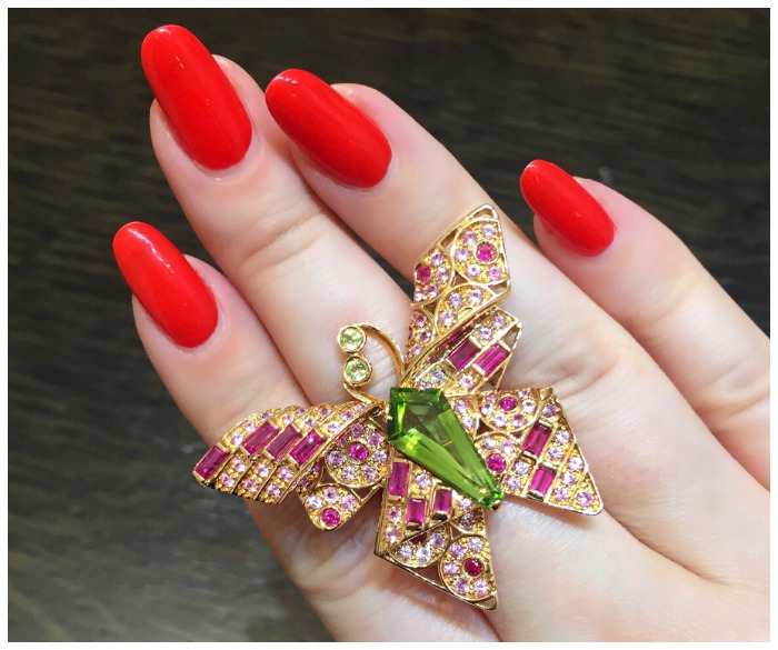 A beautiful gemstone butterfly ring by Carlo Barberis.