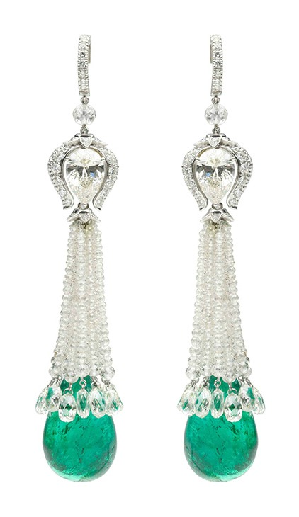 A pair of emerald and diamond earring by Viren Bhagat. At FD Gallery.