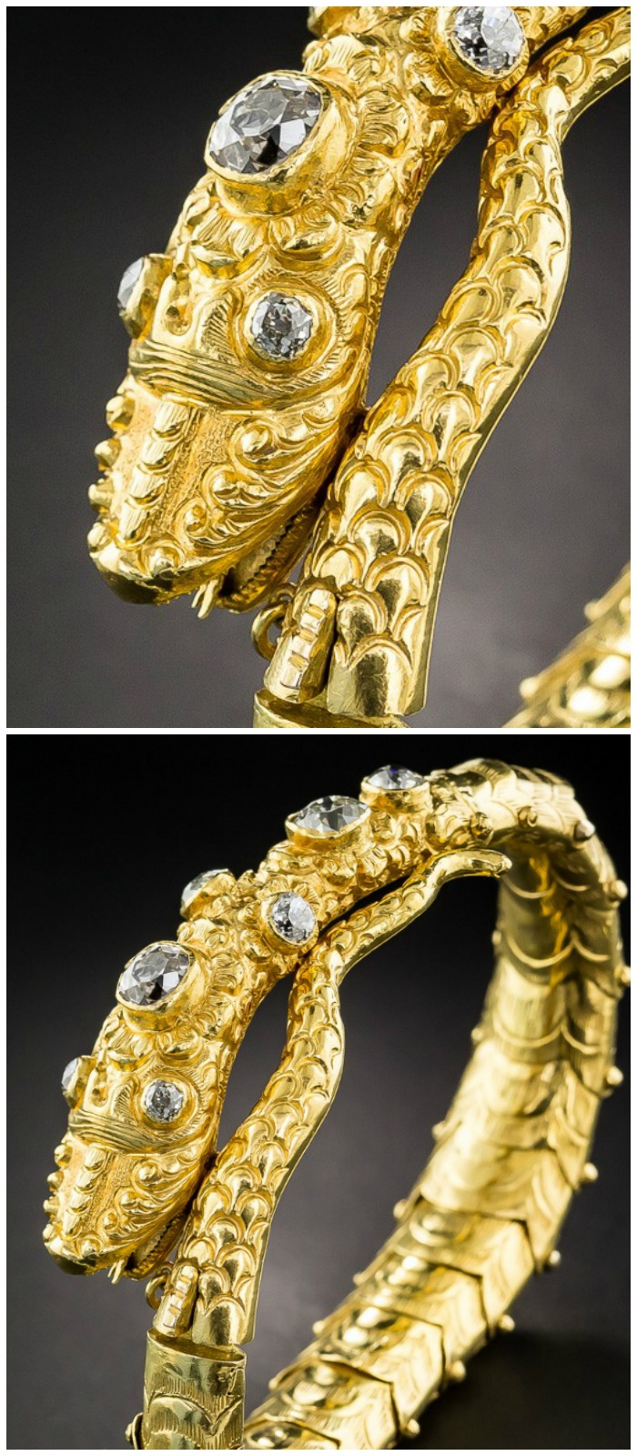 an-incredible-rose-cut-diamond-snake-bracelet-in-gold-at-lang-antiques
