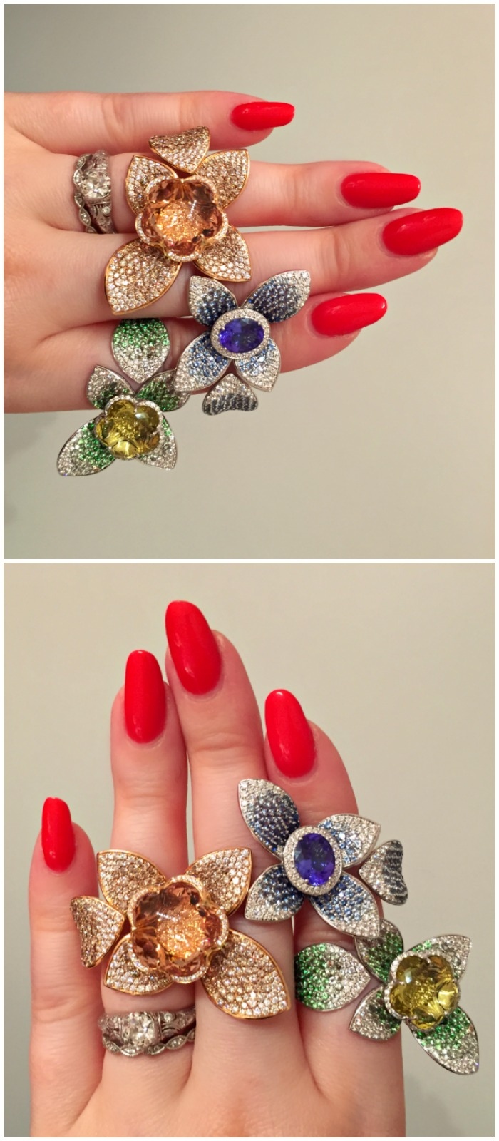 Three fabulous floral rings from Pasquale Bruni. Seen a VicenzaOro.