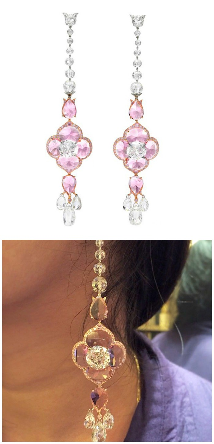 A beautiful pair of Bhagat earrings with old European and briolette-cut diamonds (23.98 carats total) and pink spinel (14.39 carats). At FD Gallery.