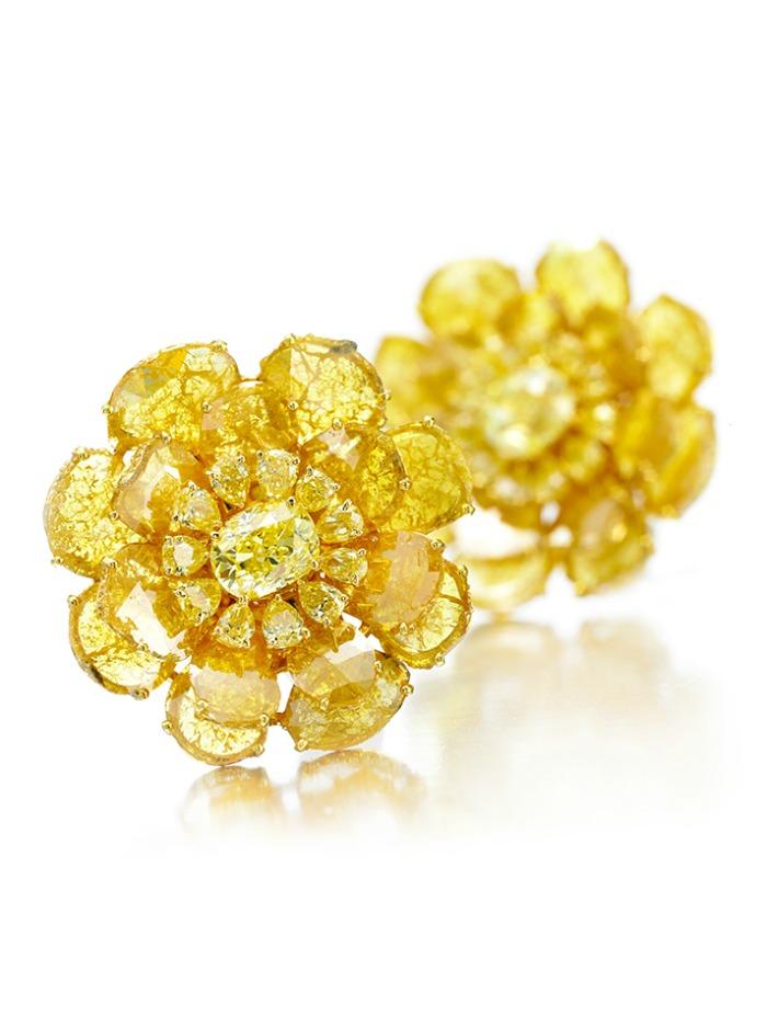 Viren Bhagat yellow diamond flower earrings. At FD Gallery.