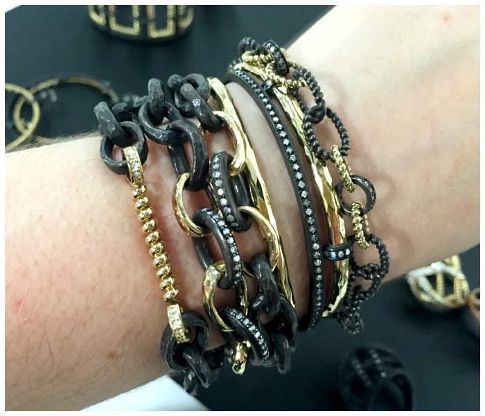 A glorious stack of bracelets by Nancy Newberg.