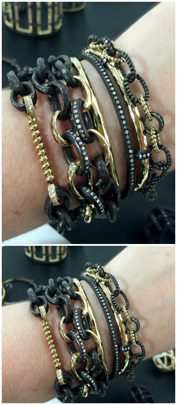 A gorgeous stack of bracelets by the talented Nancy Newberg.