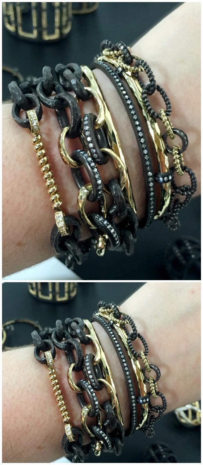 A glorious stack of bracelets by Nancy Newberg