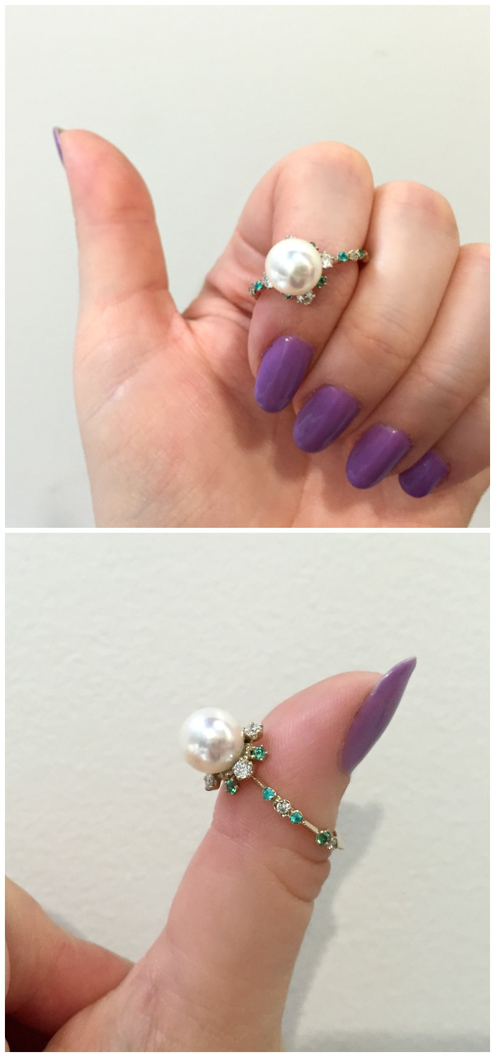 A pearl ring by Kataoka jewelry. Pearl with diamonds, emeralds, and Paraiba tourmalines.