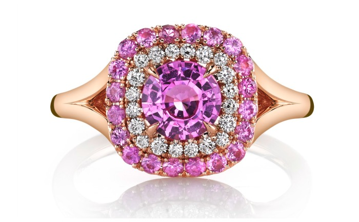 A pretty in pink ring from Omi Prive, featuring a pink sapphire surrounded by pink sapphire and diamond haloes in rose gold. A great alternative to pink diamonds.