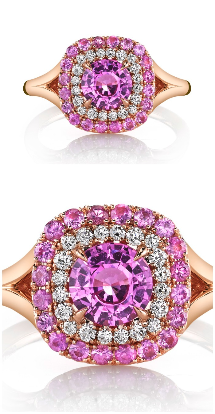 A pretty in pink ring from Omi Prive, featuring a pink sapphire surronded by pink sapphire and diamond haloes in rose gold. A great alternative to pink diamonds.