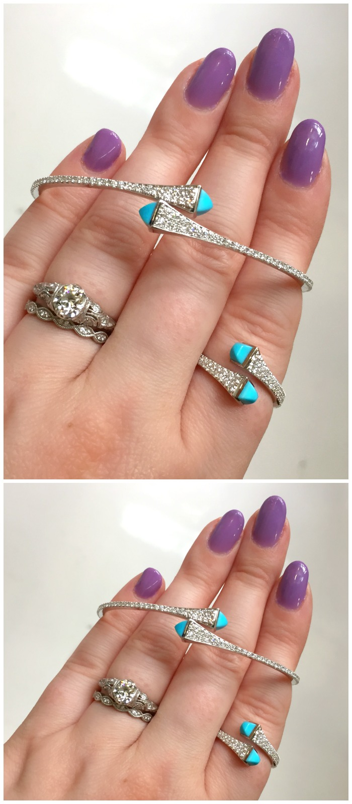 A turquoise and diamond bangle bracelet and ring by Marli NYC.
