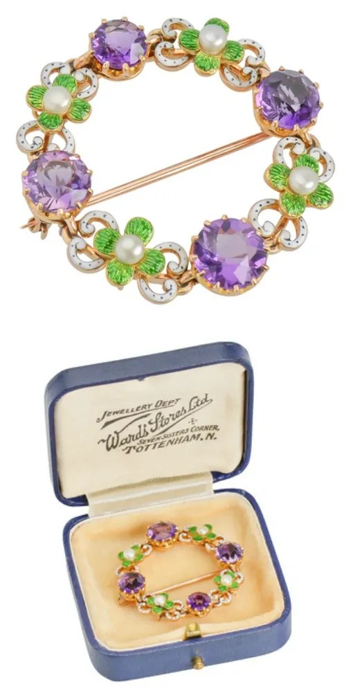 An amethyst, enamel, and pearl suffragette brooch - a rare, genuine example of suffragette jewlelry. From The Three Graces.