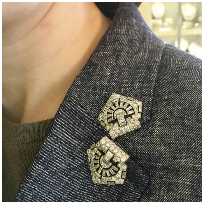 Dress clips from Hancocks. I love this way of wearing brooches.