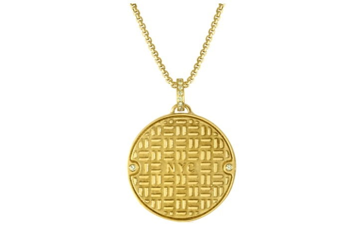 Julie Lamb's NYC Manhole Cover in yellow gold with diamonds! Handmade in NYC.
