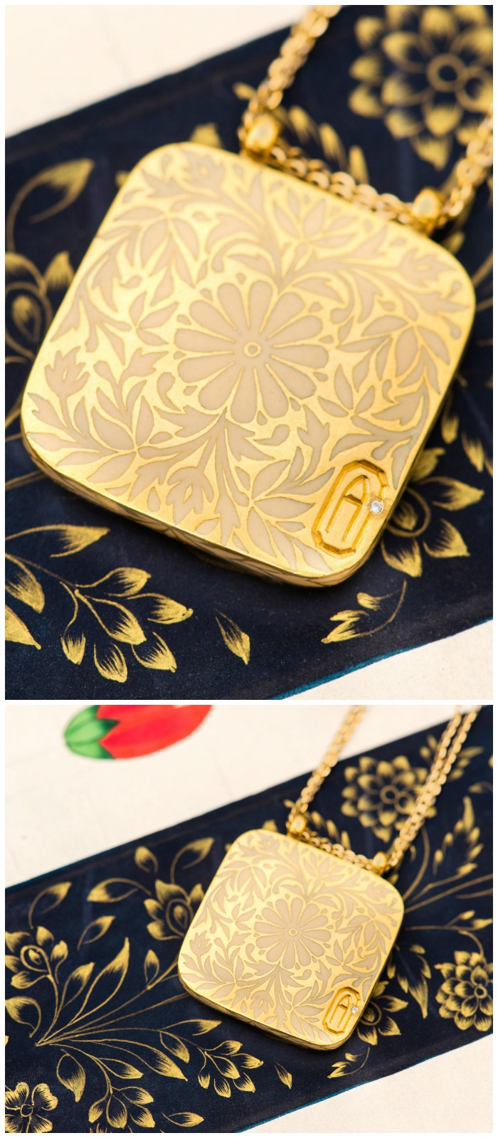 The Gilded Journey initial pendant from Agaro Jewels Roya Collection. Even the back is beautiful!