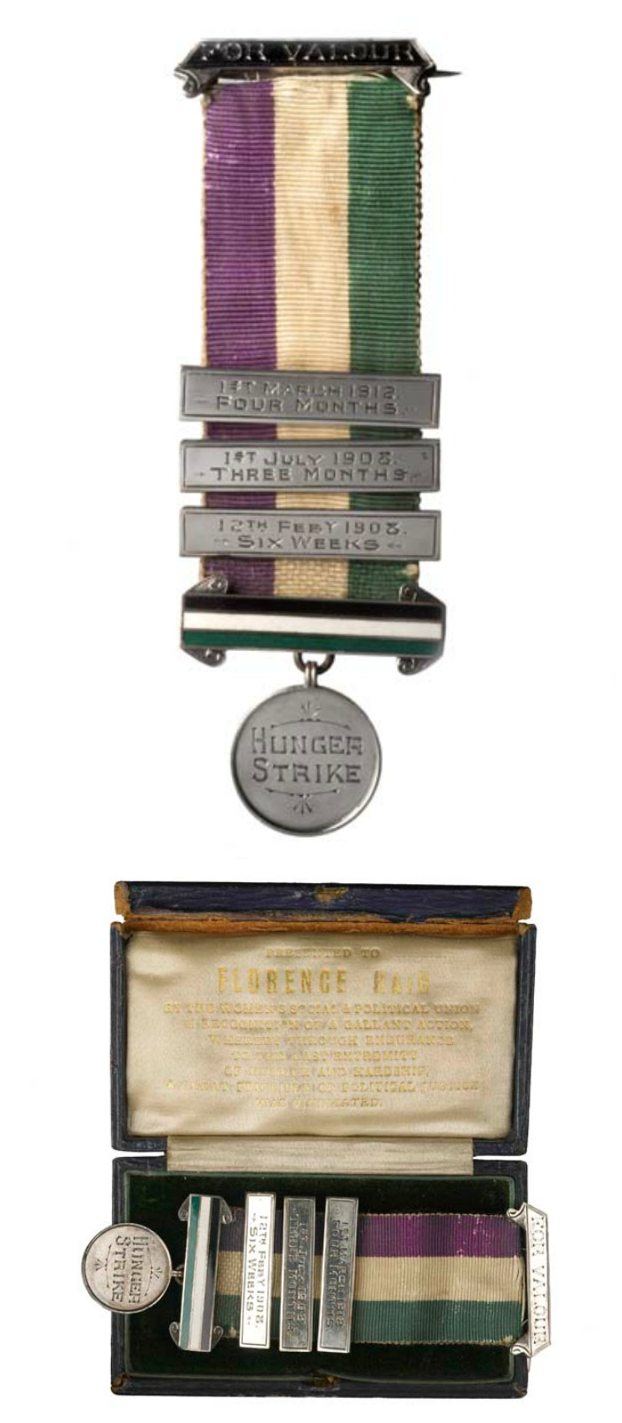 This Medal for Valor was presented to suffragette Florence Haig, commemorating her hunger strikes and incarcerations for the cause.
