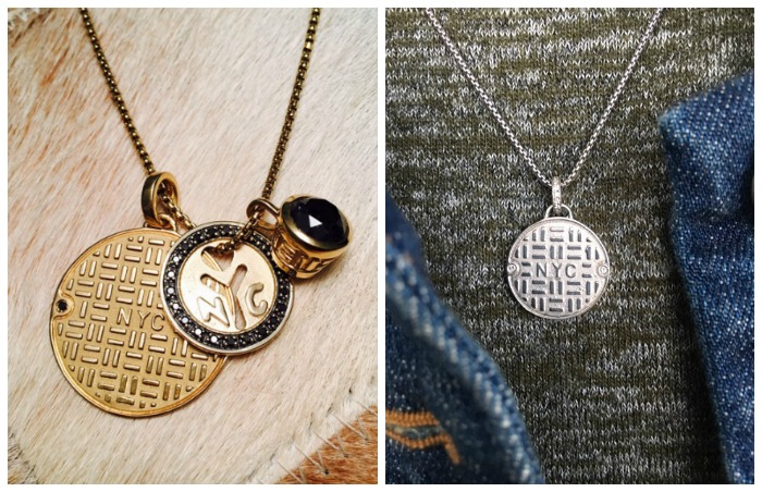 Two different ways of styling the Julie Lamb NYC manhole cover pendant.