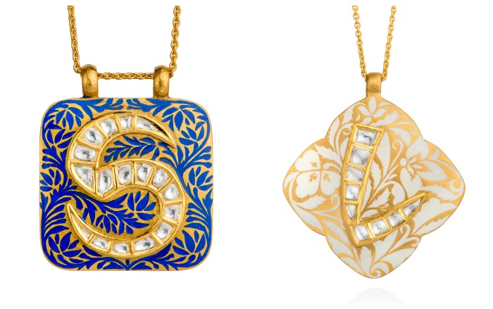 Two pendants from Agaro Jewels' Roya Collection, shown in the Lapis Maze and Jasmine Garden color schemes.