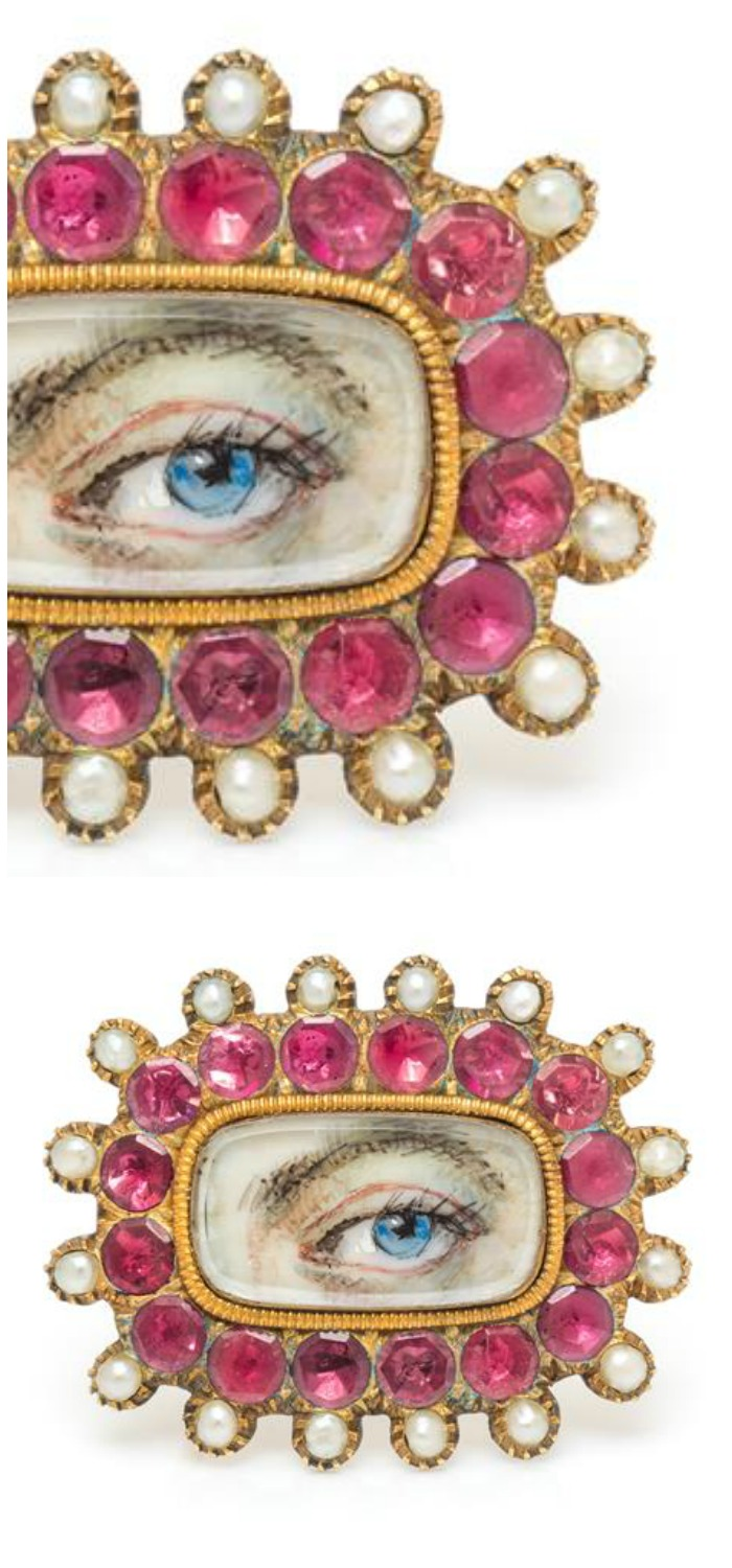 A Georgian Yellow Gold, Pink Gemstone and Seed Pearl Lover's Eye Brooch