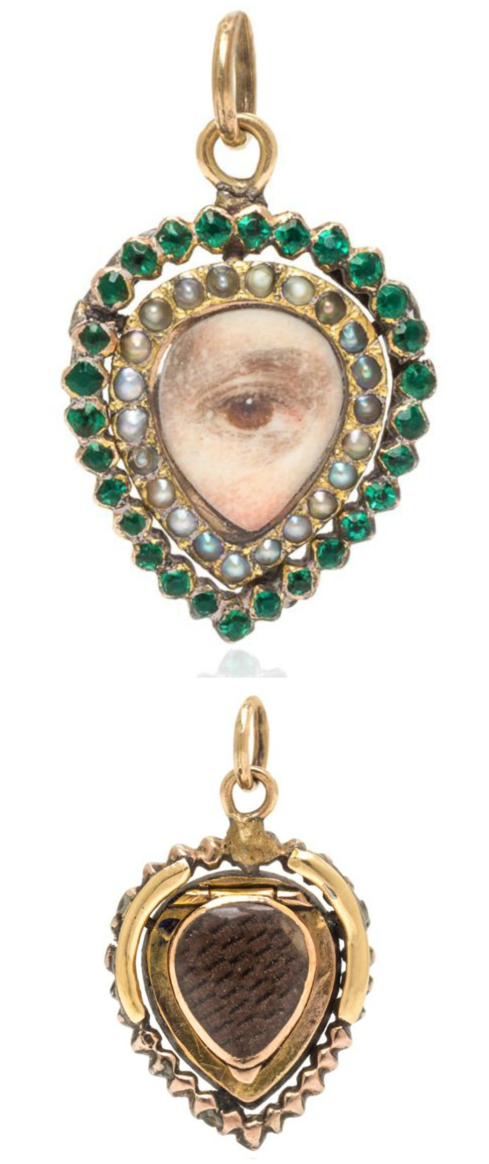 A Gorgian green glass and seed pearl Lover's Eye pendant with locket compartment.