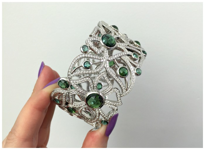 A fantastic gemstone and diamond cuff bracelet by Carelle.