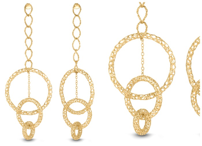 A fantastic pair of metal lace statement earrings in gold from Vitae Ascendere.