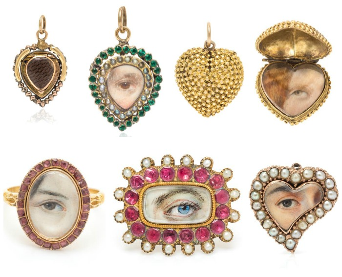 A generous selection of Georgian lover's eye jewelry from Leslie Hindman's December Important Jewelry sale.