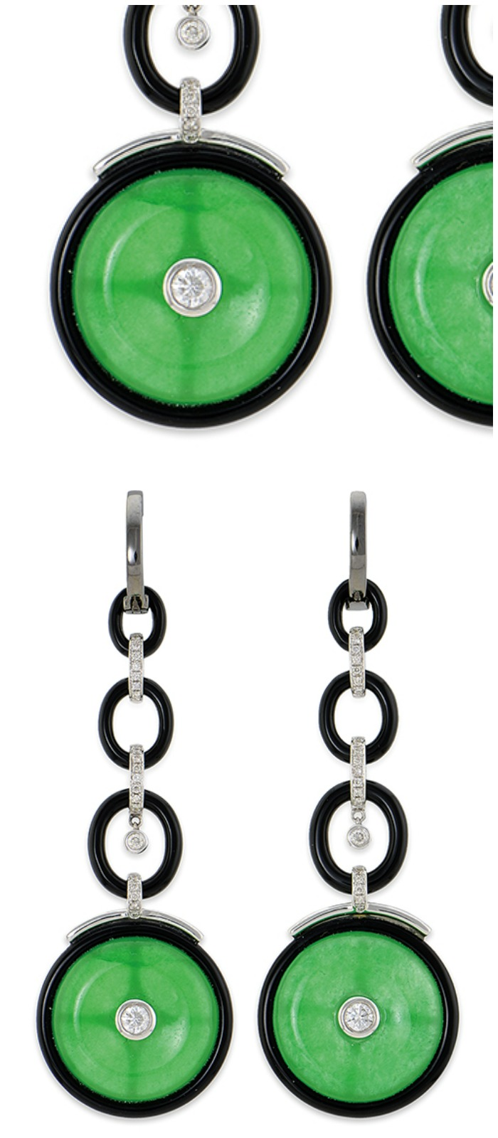 A pair of jade, onyx, and diamond earrings currently up for auction and available through Bidsquare.
