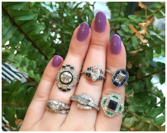 A selection of incredible antique rings from Erstwhile Jewelry Co. Diamonds, sapphires, emeralds, black onyx, and enamel.