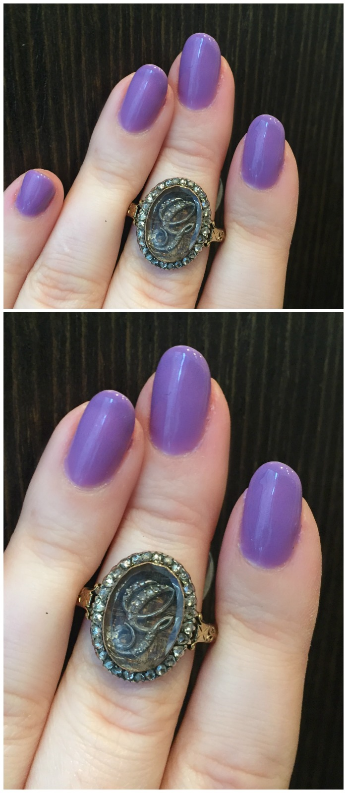 A stunning antique memorial ring from Erstwhile Jewelry Co., with hair detail and a diamond monogram.