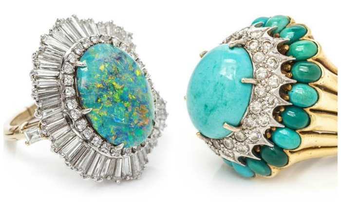 An opal and diamond ring that converts into a pendant, and a turquoise and gold bombe ring.