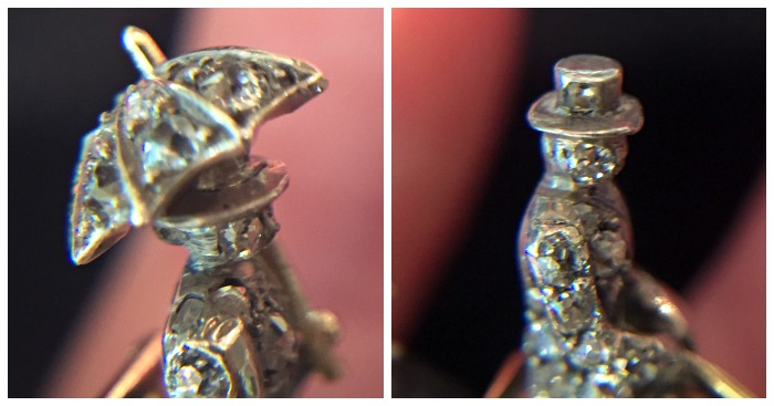 Detail shots of two tiny diamond figures on SJ Shrubsole's magnificent Victorian era coaching brooch.