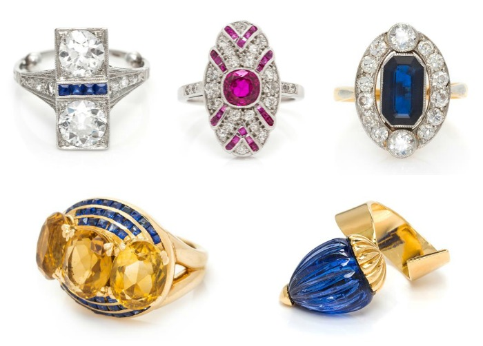 Five fantastic rings from Leslie Hindman Auctioneers' December Important Jewelry Sale.