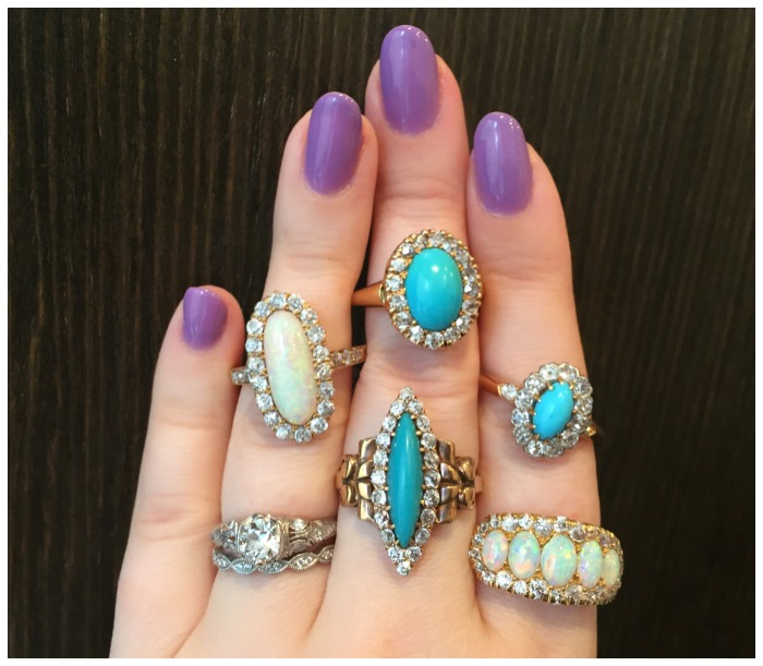 I love every single one of these antique rings from Erstwhile Jewely Co.! Turquoise and opals with diamonds.