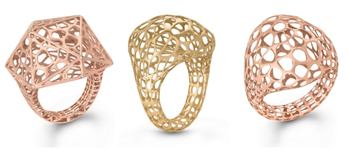 Three metal lace cocktail rings from Vitae Ascendere. In yellow and rose gold.