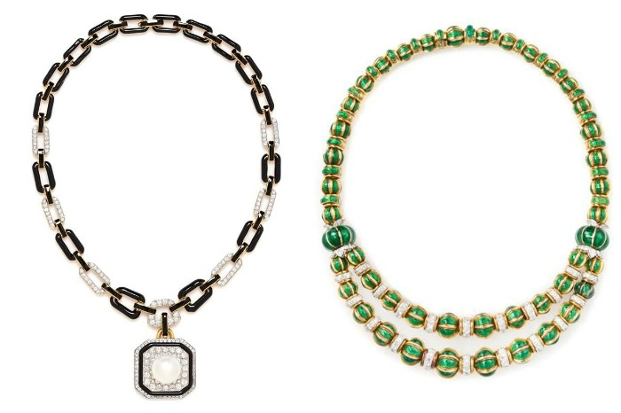 Two enamel necklaces by David Webb; both with enamel and diamonds, one with a South Sea pearl as well.