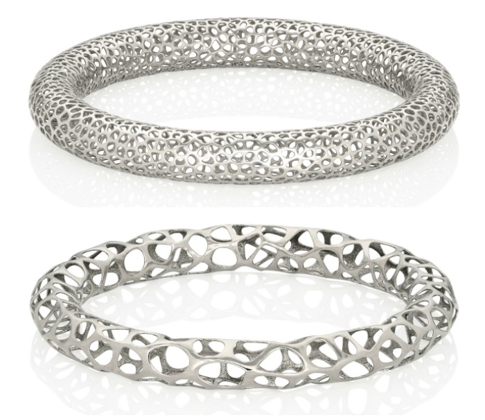 Two metal lace bangle bracelets from Vitae Ascendere.
