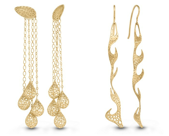 Two pairs of golden metal lace earrings by Vitae Ascendere. Inspired by nature, crafted using cutting-edge digital technology.