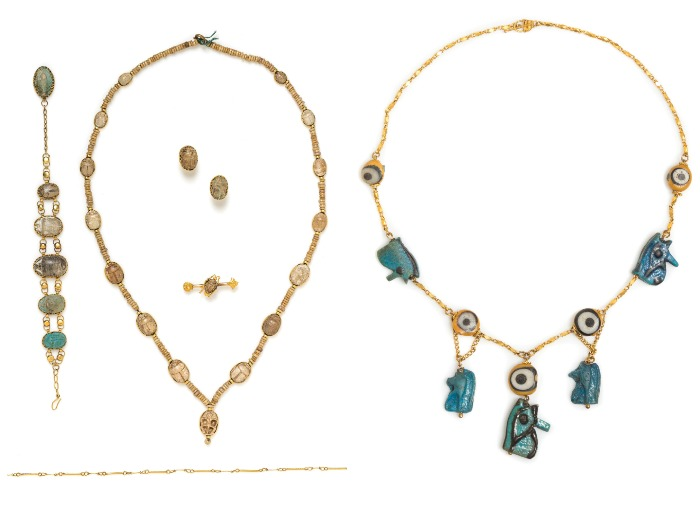 Two sets of ancient jewelry from Leslie Hindman Auctioneers' December Important Jewelry sale.