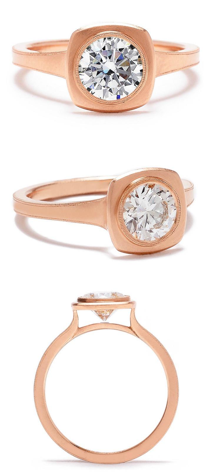 Erika Winters' Jin bezel-set diamond engagement ring in rose gold.